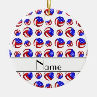 Personalized name white american volleyballs ceramic ornament