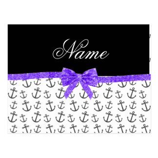 Personalized name white anchors purple glitter bow post cards