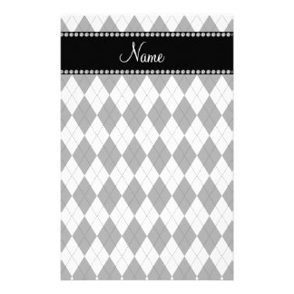 Personalized name White and grey argyle pattern Personalized Stationery