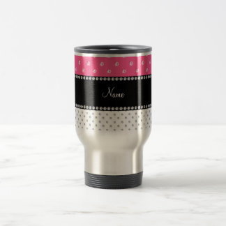 Personalized name white and pink diamonds 15 oz stainless steel travel mug