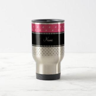 Personalized name white and pink diamonds travel mug