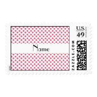 Personalized name white and pink polka dots postage