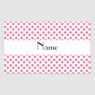 Personalized name white and pink polka dots rectangular sticker