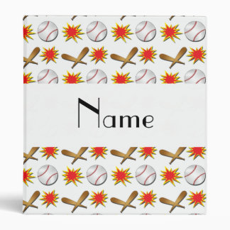 Personalized name white baseball binders