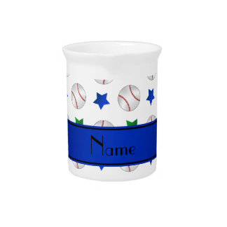 Personalized name white baseball blue green stars beverage pitchers