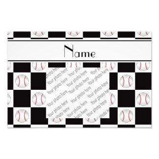 Personalized name white baseball checkers photo print