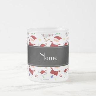 Personalized name white baseball christmas 10 oz frosted glass coffee mug