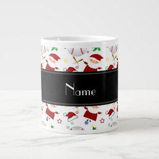 Personalized name white baseball christmas 20 oz large ceramic coffee mug