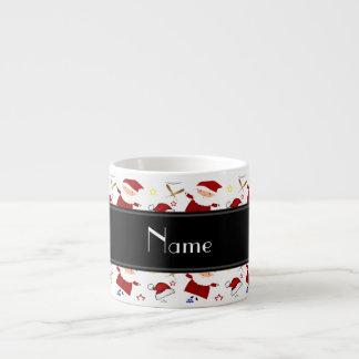 Personalized name white baseball christmas 6 oz ceramic espresso cup