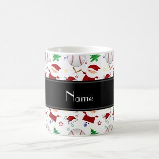 Personalized name white baseball christmas classic white coffee mug
