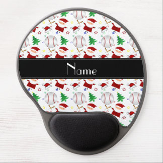 Personalized name white baseball christmas gel mouse pad
