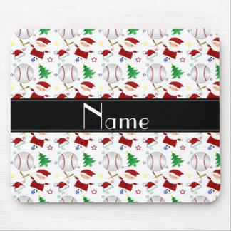 Personalized name white baseball christmas mouse pad
