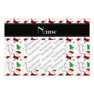 Personalized name white baseball christmas photo print