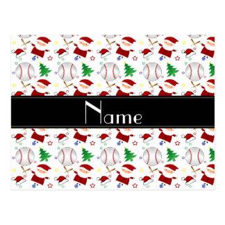 Personalized name white baseball christmas postcard