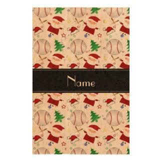 Personalized name white baseball christmas photo cork paper