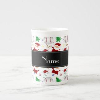 Personalized name white baseball christmas tea cup