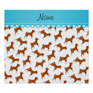 Personalized name white basenji dogs poster
