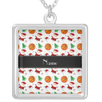 Personalized name white basketball christmas jewelry