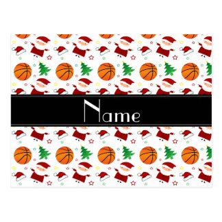 Personalized name white basketball christmas postcards