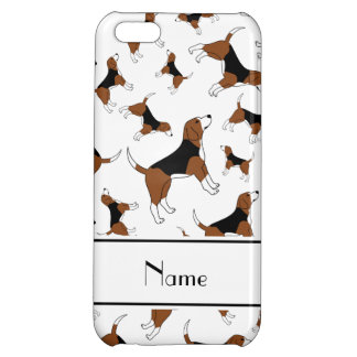 Personalized name white beagle dog pattern iPhone 5C covers