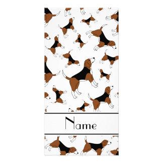 Personalized name white beagle dog pattern photo card