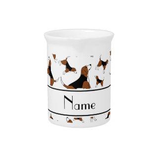 Personalized name white beagle dog pattern pitcher