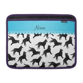 Personalized name white belgian sheepdog MacBook air sleeves
