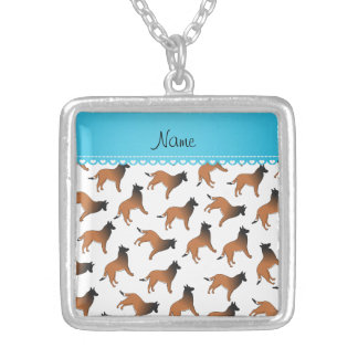 Personalized name white belgian tervuren dogs square pendant necklace