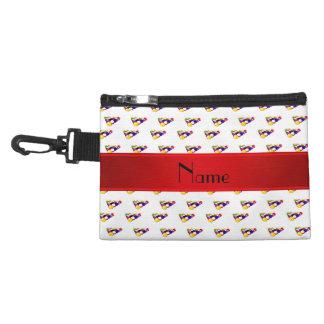 Personalized name white billiard balls red stripe accessories bags