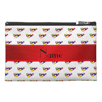 Personalized name white billiard balls red stripe travel accessory bags
