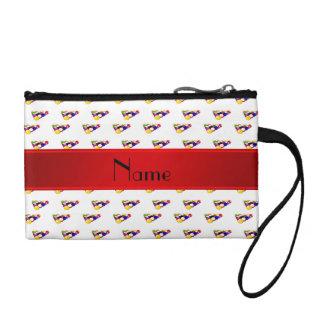 Personalized name white billiard balls red stripe coin purse
