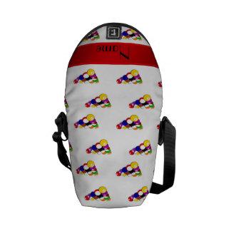 Personalized name white billiard balls red stripe courier bag
