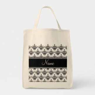 Personalized name White black damask Bags