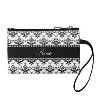 Personalized name white black damask coin purse