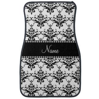 Personalized name white black damask car mat