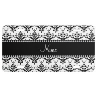 Personalized name white black damask license plate