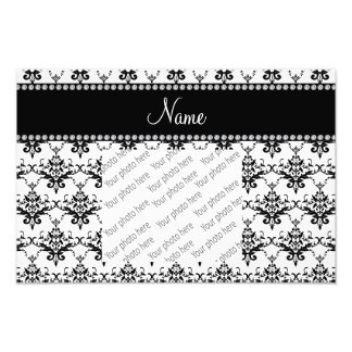 Personalized name white black damask photograph