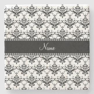 Personalized name white black damask stone coaster