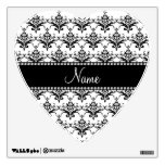 Personalized name White black damask Wall Decal