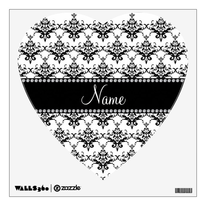 Personalized name White black damask Wall Sticker
