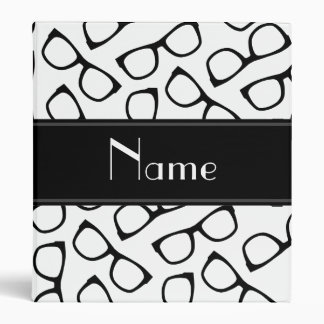 Personalized name white black glasses binders