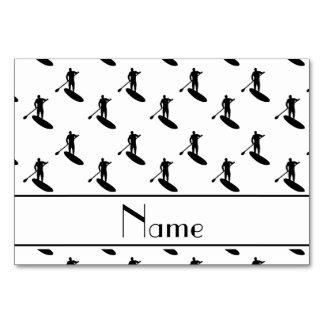 Personalized name white black paddleboarding card