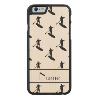 Personalized name white black paddleboarding carved® maple iPhone 6 case
