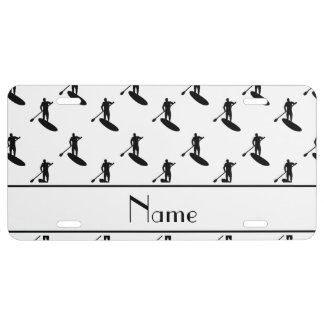Personalized name white black paddleboarding license plate