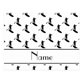 Personalized name white black paddleboarding postcard