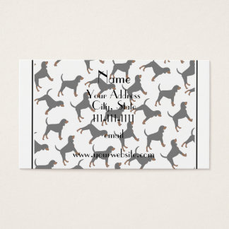 Personalized name white black tan coonhounds business card