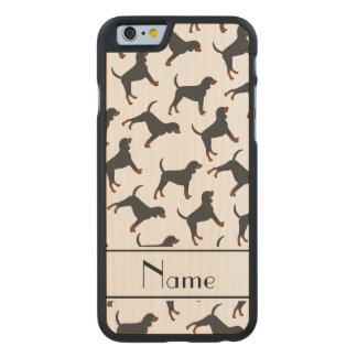 Personalized name white black tan coonhounds carved® maple iPhone 6 slim case