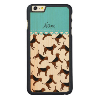 Personalized name white bloodhound dogs carved® maple iPhone 6 plus case