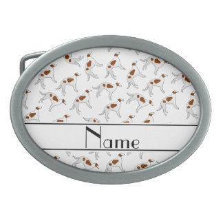 Personalized name white borzoi dog pattern oval belt buckle