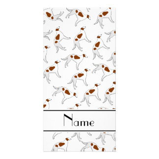 Personalized name white borzoi dog pattern photo card